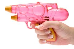 Anhalten einer Wasser-Pistole Stockfoto