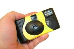 Anhalten einer wegwerfbaren Kamera Stockfoto
