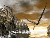 Anhanguera prehistoric birds - 3D render. Anhanguera prehistoric birds fishing on the shoreline - 3D render Stock Photo