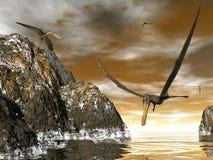 Anhanguera prehistoric birds - 3D render. Anhanguera prehistoric birds fishing on the shoreline - 3D render vector illustration
