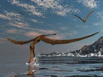 Anhanguera prehistoric birds - 3D render. Anhanguera prehistoric birds fishing on the shoreline - 3D render stock illustration