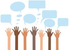 Anheben der Hand mit einem Fragenfarbhintergrund Stockfotos
