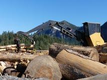 Anhebende bewegliche Klotz des Bauholzladers lizenzfreies stockfoto