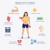 Anhebende Gewichte der attraktiven Frau und Lächeln an der Kamera Nutzen der Turnhalle, Übung, Sport Lizenzfreie Stockfotos