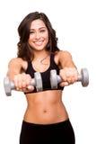 Anhebende Gewichte der Frau Stockfoto