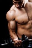 Anhebende Gewichte des leistungsfähigen muskulösen Mannes Stockfoto