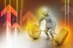 anhebende Gewichte des Mannes 3D Lizenzfreie Stockbilder