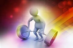 anhebende Gewichte des Mannes 3D Lizenzfreies Stockbild