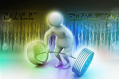 anhebende Gewichte des Mannes 3D Lizenzfreie Stockfotografie