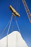 Anhebende Seilrolle in einem Marmorsteinbruch Stockfotografie