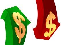 Anhebendes und fallendes Dollarzeichenbargeld Stockfotos