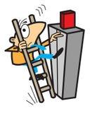 Anhebendes weg fallen des Mannes eine Strichleiter Lizenzfreie Stockbilder
