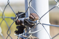 Anhorage. Industrial screw to link fence Royalty Free Stock Photography