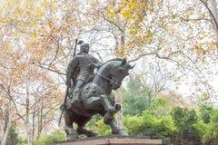 ANHUI CHINY, Nov, - 23 2015: Zhang Liao statua przy XiaoYaoJin parkiem Fotografia Stock