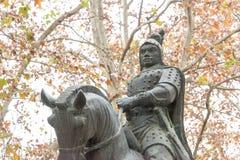 ANHUI CHINY, Nov, - 23 2015: Zhang Liao statua przy XiaoYaoJin parkiem Zdjęcia Royalty Free
