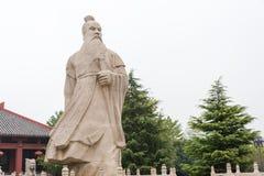ANHUI KINA - November 18 2015: Den Caocao statyn på Caocao parkerar en famo Arkivfoto