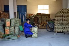 ANHUI PROVINCE, CHINA – CIRCA OCTOBER 2017: A Man working inside a tea factory. A man working inside a tea factory with the big wicker basket, where si royalty free stock image