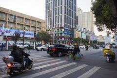 Anhui wuhu street view. Streets of wuhu, anhui, commercial buildings, urban buildings, pedestrians, traffic, photography in wuhu street stock image