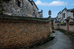 Anhui Yi Xian Hongcun alley. Hongcun is located in one of the six counties of Huizhou, Yixian County, northeast of the whole village with mountains and water Royalty Free Stock Image