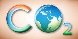 Anhydride carbonique, carte de la terre sur l'oxygène Image stock