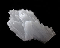 Anhydrite (calcium sulphate). Large anhydrite crystal, isolated on black Royalty Free Stock Images
