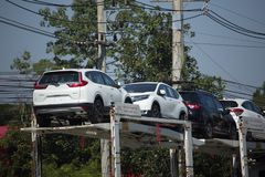 ANI Logistics Group-Fördermaschinenanhänger LKW für Honda-Auto Lizenzfreies Stockbild