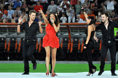 Ani Lorak sings surrounded by dancers Stock Photo