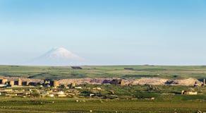 Ani Ruins and Mount Ararat  Summer (4 Season). Mount Ararat rewiev Ani Ruins Royalty Free Stock Photos