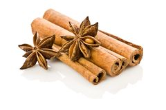 Anice And Cinnamon Isolated Royalty Free Stock Photos