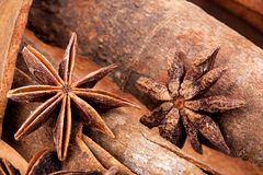 Anice and cinnamon macro background Stock Images