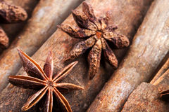 Anice and cinnamon macro background Stock Photography
