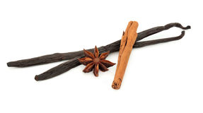 Anice della vaniglia, della cannella e di stella Fotografia Stock Libera da Diritti