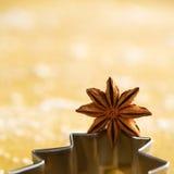 Anice di stella sulla taglierina del biscotto dell'albero di Natale Fotografie Stock