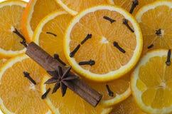 Anice stellato con cannella e le arance Fotografia Stock Libera da Diritti