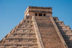 Anicent Maya mayan pyramid El Castillo Kukulkan in Chichen-Itza, Mexico. Travel Mexico background - Anicent Maya mayan pyramid El Castillo Kukulkan in Chichen stock photo