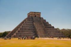 Anicent Maya mayan pyramid El Castillo Kukulkan in Chichen-Itza, Mexico. Travel Mexico background - Anicent Maya mayan pyramid El Castillo Kukulkan in Chichen stock photography