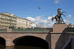 Anichkov桥梁在圣彼得堡,俄罗斯 免版税库存图片