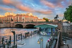 Anichkov桥梁的看法 免版税库存照片