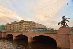 Anichkov桥梁在圣彼德堡 图库摄影