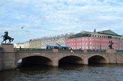 Anichkov bridge and Fontanka river Stock Image