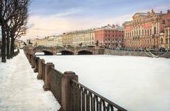 Anichkov Bridge on  winter Fontanka Royalty Free Stock Photos