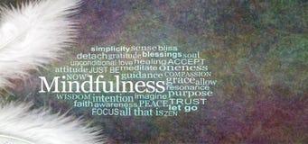 Anielski Mindfulness słowa chmury wieśniaka sztandar obraz royalty free