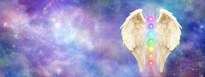 Anielski Pozaziemski opiekun strony internetowej sztandar zdjęcie royalty free