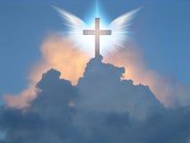 Anielski skrzydło krzyż ilustracja wektor