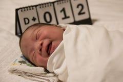 Anielski uśmiech Azjatycki nowonarodzony dziecko fotografia stock