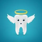Anielski ząb z skrzydłami i halo ilustracja wektor