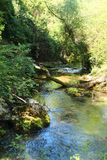 The Aniene river near Subiaco Stock Images