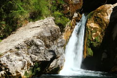 The Aniene river near Subiaco. The Trevi`s fall Royalty Free Stock Image