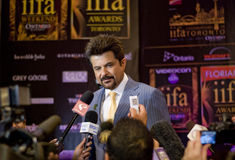Anil Kapoor. Bollywood king Anil Kapoor meets the press at the International Indian Film Academy Awards 2011, Toronto Stock Photos