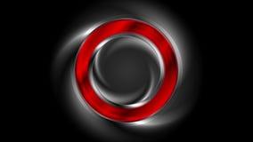 Anillo brillante rojo en la animación negra del vídeo del fondo